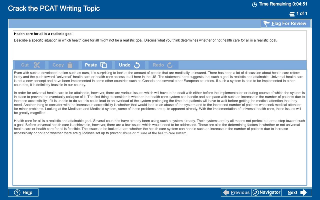 pcat essay questions